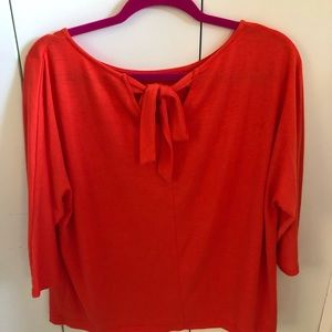 NWT LOFT Crimson Bow LS Top